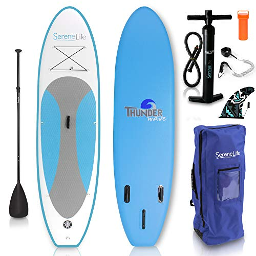 SereneLife Inflatable Stand Up Paddle Board (6 Inches Thick)...
