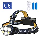 ELMCHEE Rechargeable headlamp, 12000 Lumen 6 LED 8 Modes...