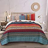 WONGS BEDDING Bohemian Quilt Set Queen, Boho Striped Pattern...