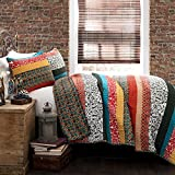 Lush Decor Boho Stripe Quilt Reversible 3 Piece Bohemian...