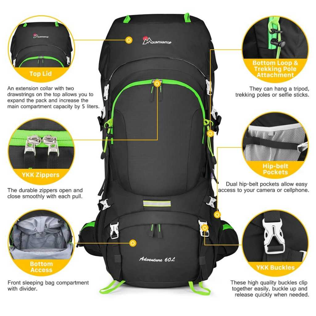 taintop 60L Hiking Backpack with Rain Cover