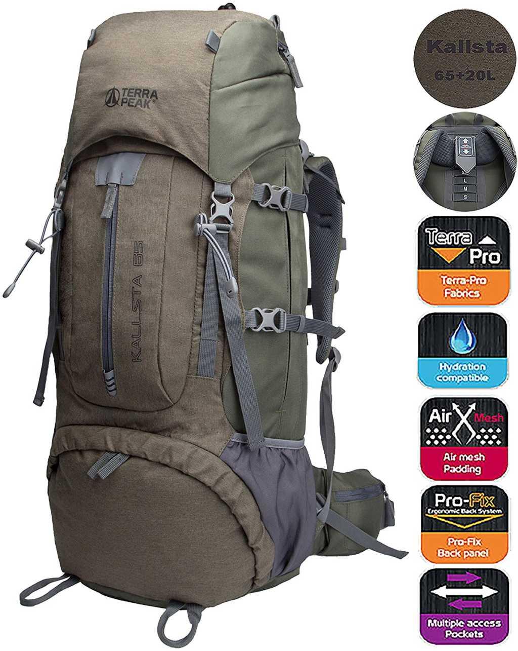 TERRA PEAK Adjustable Hiking Backpack 55L//65L//85L+20L for Men Women