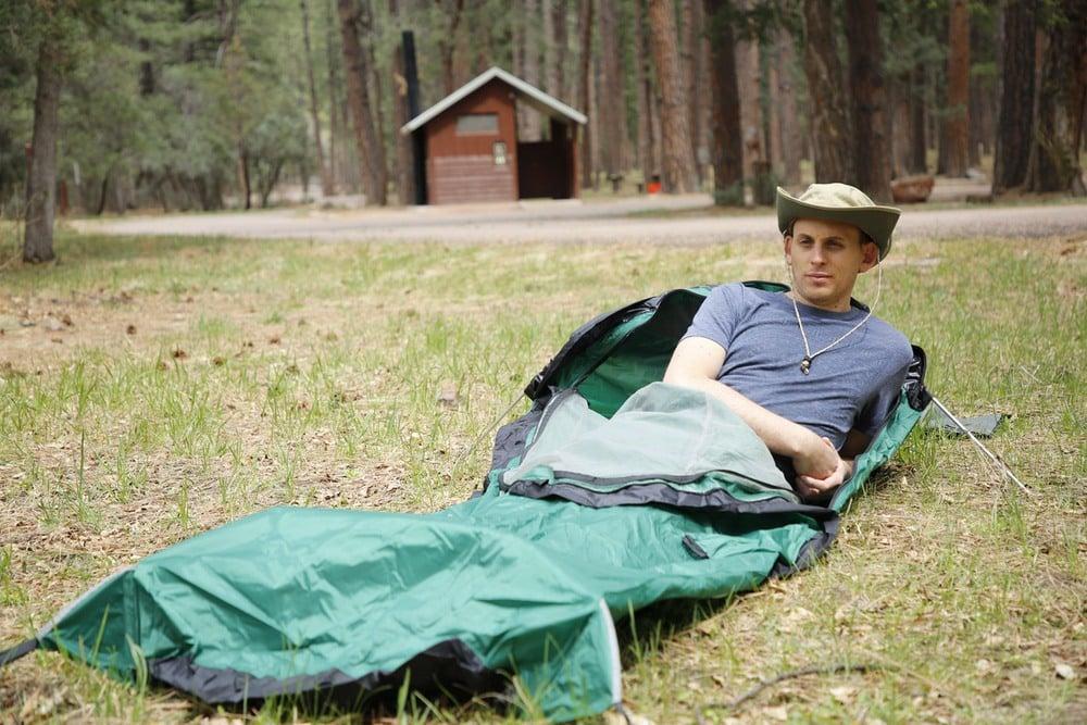 Erik in a Bivy Sack